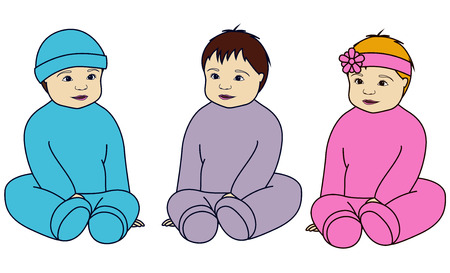 triplet: Vector isolated babies set Illustration