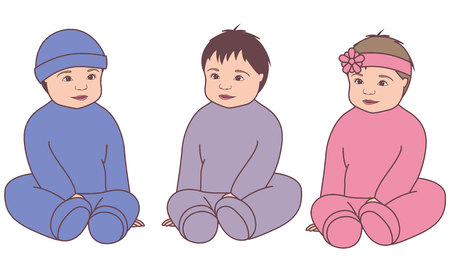 Vector isolated babies vintage set