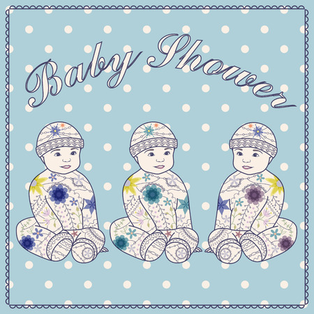 triplet: Vector baby shower triplets three boys Illustration