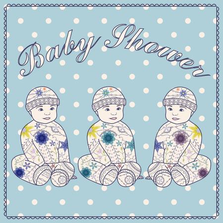 triplets: Vector baby shower triplets three boys Illustration