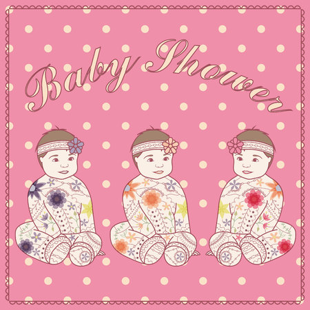triplet: Vector baby shower triplets three girls Illustration