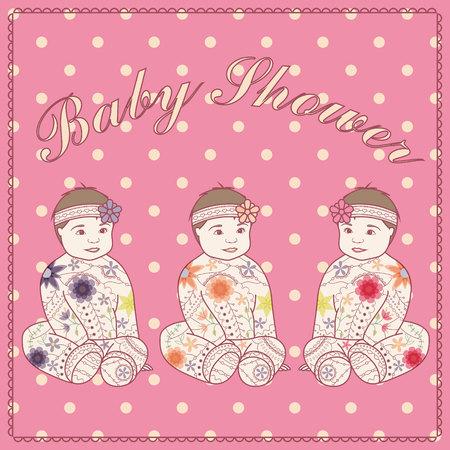 triplets: Vector baby shower triplets three girls Illustration