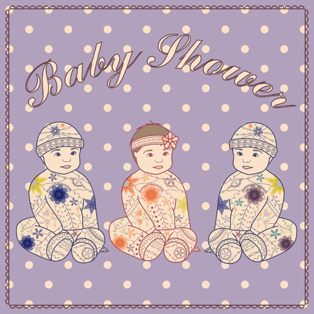 triplets: Vector baby shower triplets two boys and girl Illustration
