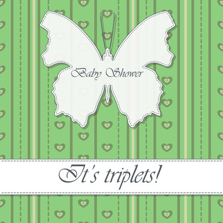 triplet: Vector baby shower triplets vintage with butterfly banner