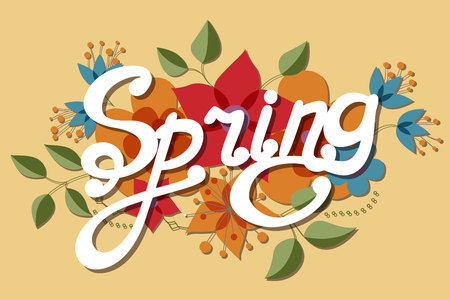 stamens: Vector spring retro background with flowers