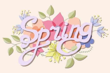 stamen: Vector spring vintage background with flowers Illustration