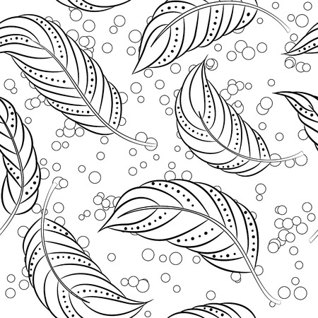 antistress: Vector coloring antistress with feathers Illustration
