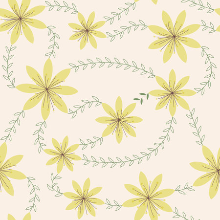stamens: Vector yellow flowers with stamens pattern vintage