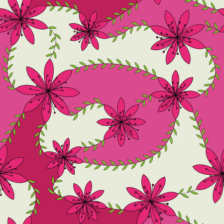 stamens: Vector pink flowers with stamens pattern colorful Illustration