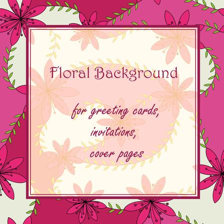 stamen: Vector pink flowers with stamens background