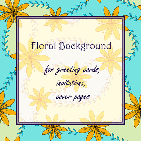 stamen: Vector yellow flowers with stamens background