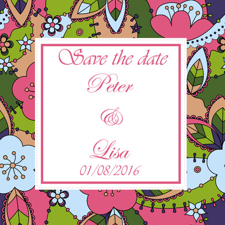 dates fruit: Vector wedding invitation with flowers background Illustration