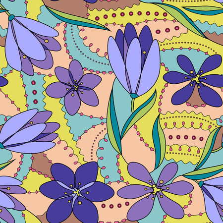 lilac: Vector crocuses seamless pattern lilac