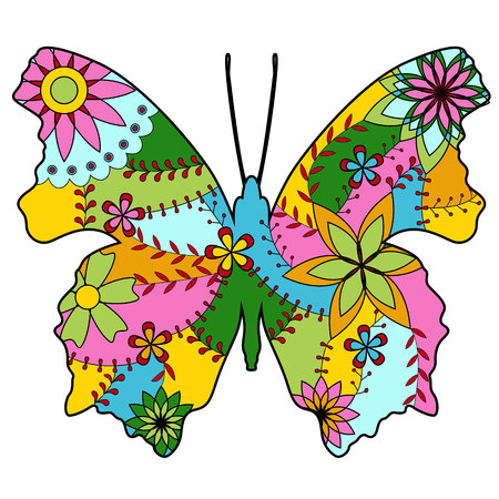 butterfly silhouette: Vector butterfly silhouette colorful Illustration