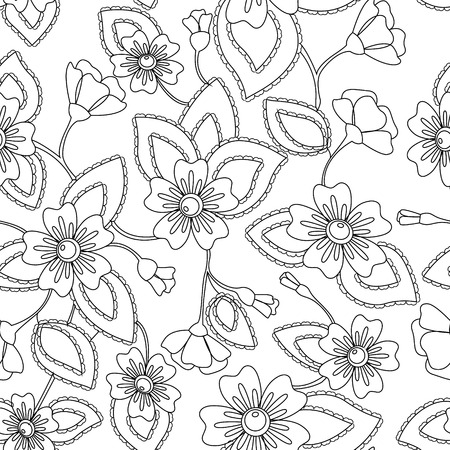 antistress: Vector coloring antistress flowers pattern Illustration