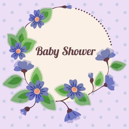 triplets: Baby shower with  round floral banner vintage blue Illustration