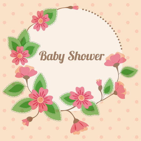 triplets: Baby shower with  round floral banner vintage pink