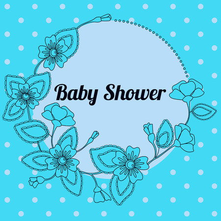 triplets: Baby shower with  round floral banner blue