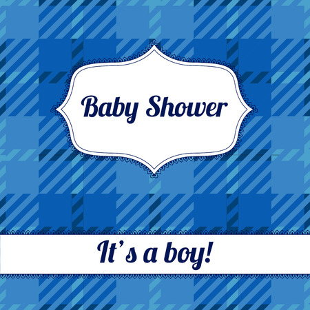 its: Vector Its a boy card with plaid