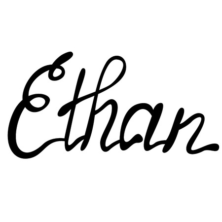 Vector Ethan name lettering Illustration
