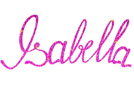 isabella: Vector Isabella name lettering tinsels