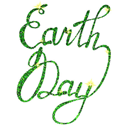 earth day: Vector lettering Earth day tinsels