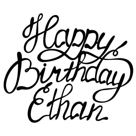 Vector happy birthday lettering Ethan
