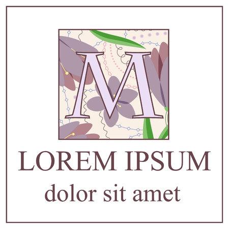adverts: Vector background with M letter vintage Illustration