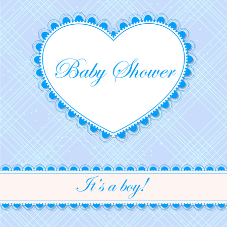 it's: Vector baby shower with heart banner boy