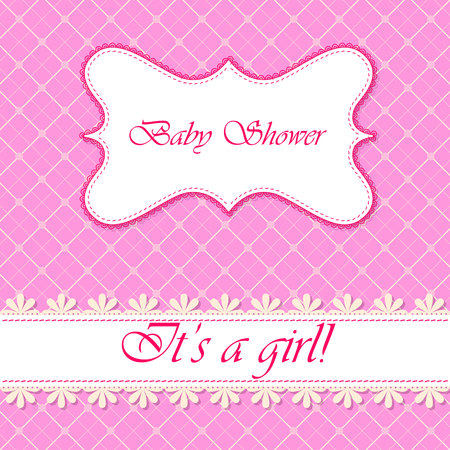 daughter cells: Vector baby shower with banner girl