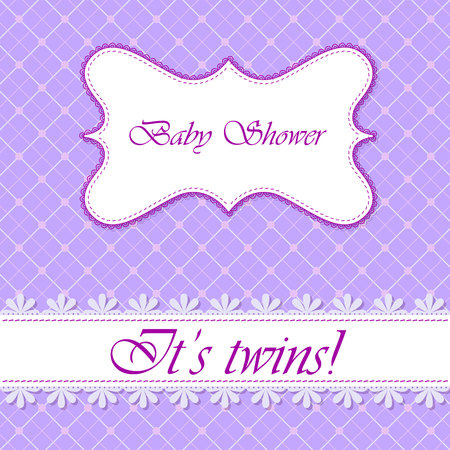 daughter cells: Vector baby shower with banner twins