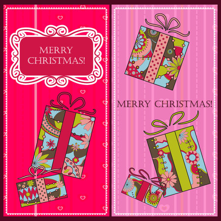 christmas gifts: Vector Christmas cards with gifts