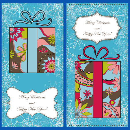 christmas gifts: Vector set of christmas cards with gifts and snowflakes