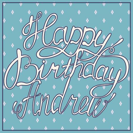 andrew: Vector happy birthday lettering Andrew vintage