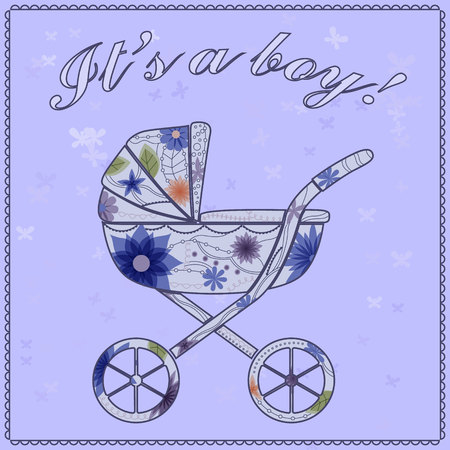 its a boy: Vector its a boy card with baby carriage Illustration
