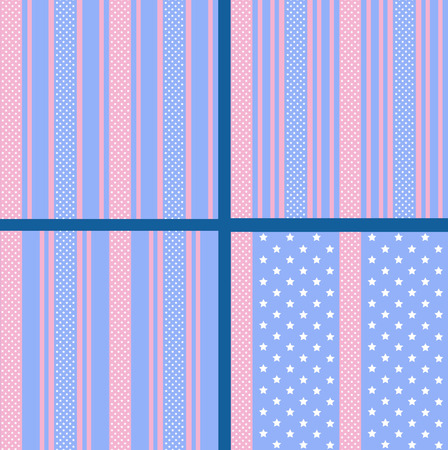 vector set of pastel striped star seamless patterns Illustration