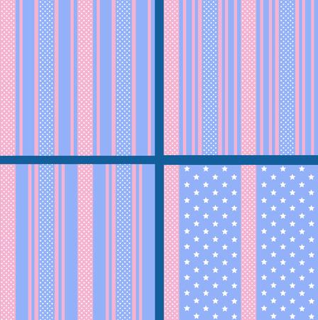 gently blue: vector set of pastel striped star seamless patterns Illustration