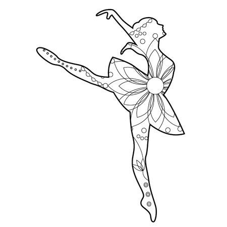 벡터 발레 댄서 색칠 공부