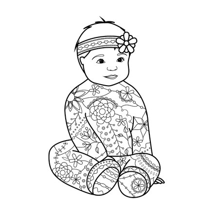 baby girl: Vector baby girl coloring Illustration