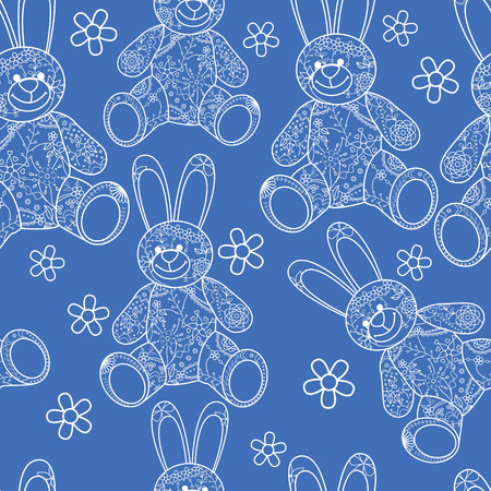 buny: Vector seamless pattern with buny toys