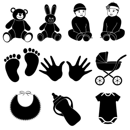 baby in hands: set of baby icons