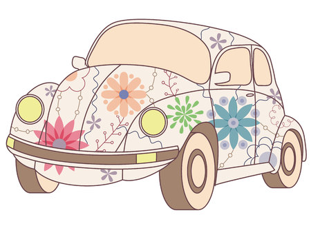 Vectoe beetle car vintage