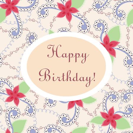 gently blue: Vector happy birthday vintage card