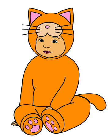 carnival costume: Vector baby in red cat dress