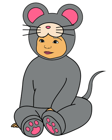 Vector baby in gray mouse dress