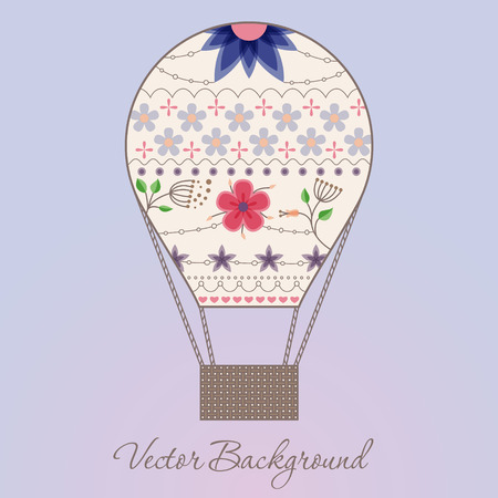 gently: Vector baclground with air balloon vintage Illustration
