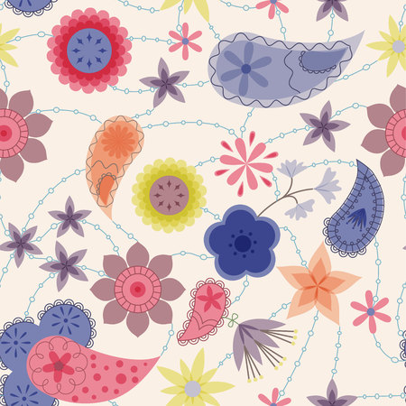 stamens: Vector flowers and paisley pattern vintage