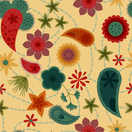 stamens: Vector flowers and paisley pattern retro