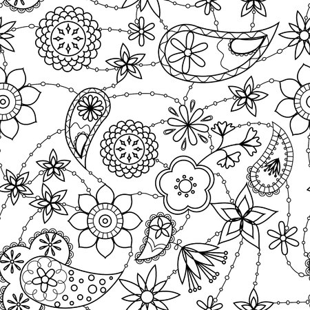 stamen: Vector flowers and paisley pattern coloring
