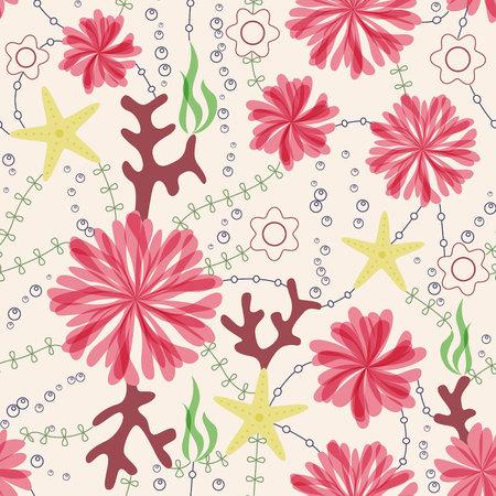 bubble sea anemone: Vector marine flowers vintage seamless pattern
